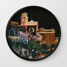 Las Vegas Strip Oil On Canvas Wall Clock