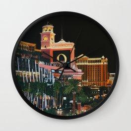 Las Vegas Strip Oil On Canvas Wall Clock