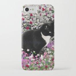 Freckles in Flowers II - Tuxedo Kitty Cat iPhone Case