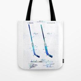 Blue Hockey Stick Art Patent - Sharon Cummings Tote Bag
