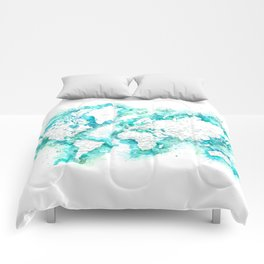 Detailed world map in anquamarine watercolor strokes Comforters