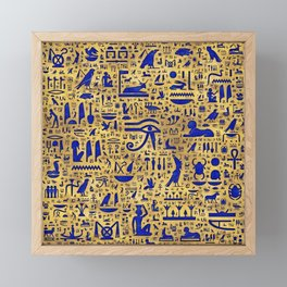 Egyptian hieroglyphic Lapis Lazuli and Gold Framed Mini Art Print