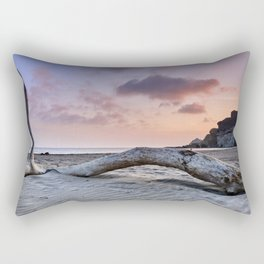 Half Moon Beach. Red sky Rectangular Pillow