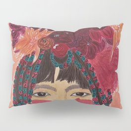 """""""DAHLA""""   A Tibetan Woman with Flowers on her Head, colorful hair and beads. Pillow Sham"""