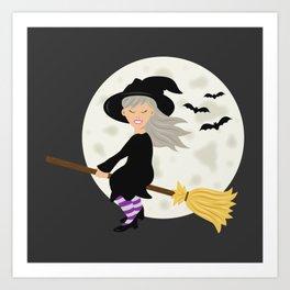 Cute Halloween Witch Girl Flying Cartoon Illustration Art Print