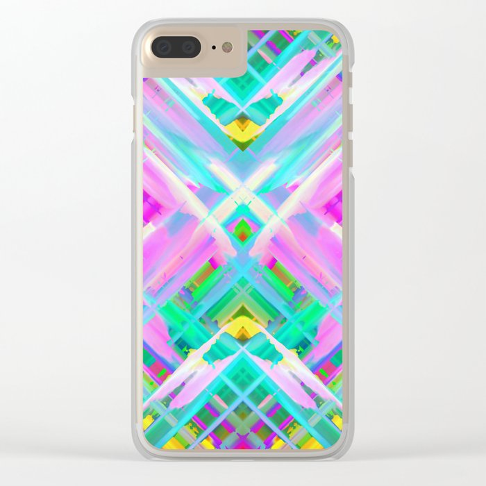 Colorful digital art splashing G473 Clear iPhone Case