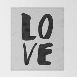 Monochrome LOVE black-white hand lettered ink typography poster design home decor wall art Throw Blanket