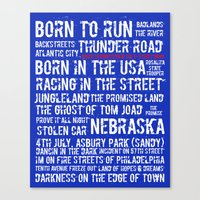 springsteen Canvas Prints featuring Springsteen Top 25 Songs by Rising Trout Design