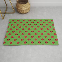 Red ladybug with black dots and green background repeat pattern Rug