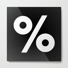 Percent Sign (White & Black) Metal Print
