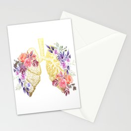 Floral Lungs Anatomy  Stationery Cards