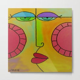 Funky Face Abstract Digital Painting Metal Print
