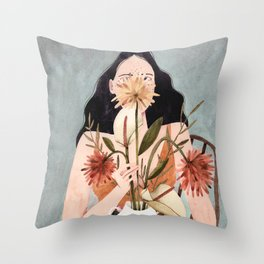Hilda with vase Throw Pillow
