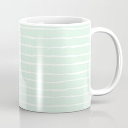 Pastel Mint and White Spring Stripes Coffee Mug