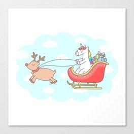 Unicorn Sleigh Canvas Print