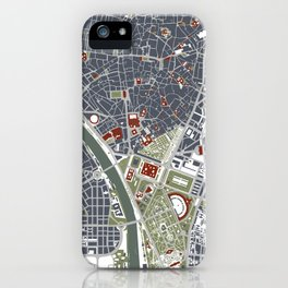 Seville city map engraving iPhone Case