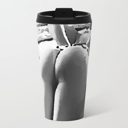 Spank me Daddy, naughty girls love bit of pain, round booty BW, hot girl nude, naked woman rear view Travel Mug