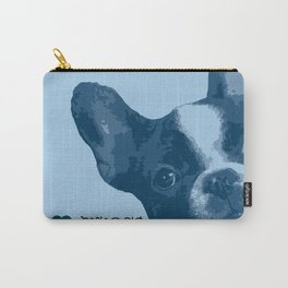 I love my dog - French Bulldog, blue Carry-All Pouch