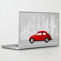 volkswagen Laptop & iPad Skins featuring red volkswagen  by Arefin