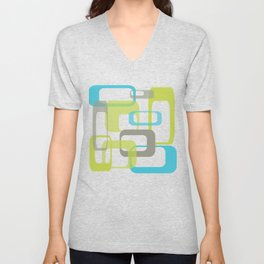 Mid-Century Modern Rectangle Design Blue Green and Gray Unisex V-Neck