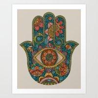 hamsa Art Prints featuring Hamsa by Valentina Harper