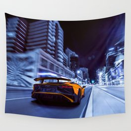 Supercar City night speed Wall Tapestry