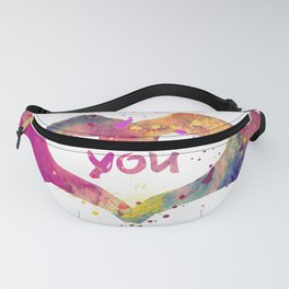 Heart Watercolor Art Print Love Hands Valentine's Day Fanny Pack
