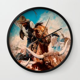 "N C Wyeth Vintage Western Painting ""Cutting Out"" Wall Clock"