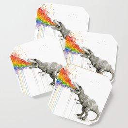 T-Rex Dinosaur Rainbow Puke Taste the Rainbow Watercolor Coaster