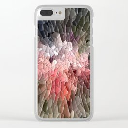 Abstract In Pink, Black And Green Clear iPhone Case