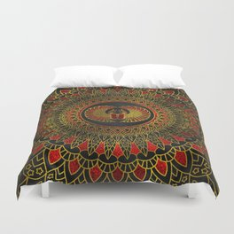 Egyptian Scarab Beetle - Gold and red  metallic Duvet Cover