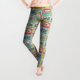 Nostalgia Audio Music Mix Cassette Tape Leggings