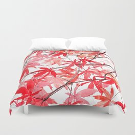 red orange maple leaves watercolor painting 2 Duvet Cover