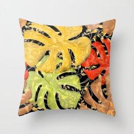 PALM LEAF BOUNTY AUTUMN SPLENDOR Throw Pillow