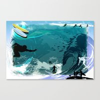 surfing Canvas Prints featuring Surfing by Robin Curtiss