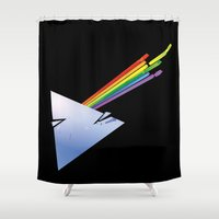 dark side of the moon Shower Curtains featuring Dark Side by Diego Consalter