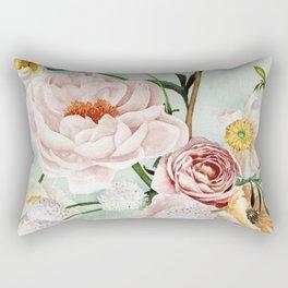 Blue Oval Peonies & Poppies Rectangular Pillow