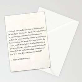 Ralph Waldo Emerson quote. To laugh often and much; to win the respect of the intelligent people and Stationery Cards