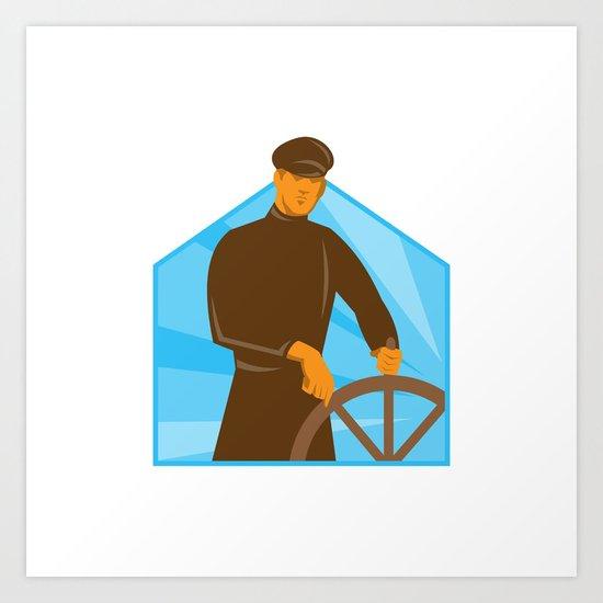 ship captain helsman steering wheel retro Art Print