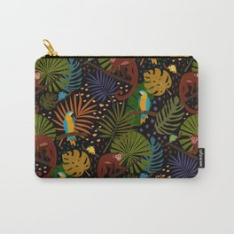 Jungle Pattern with Monkeys, Macaws and colorful Dart Frogs Carry-All Pouch