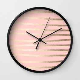 Abstract Drawn Stripes Gold Coral Light Pink Wall Clock