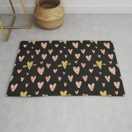 Rose Gold Hearts with Yellow Gold Hearts on Black Rug