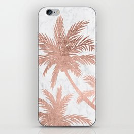 Tropical simple rose gold palm trees white marble iPhone Skin