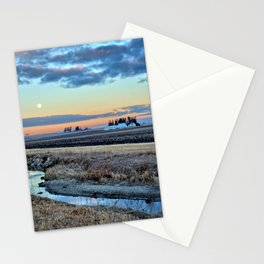 Moonset Over Iowa Stationery Cards
