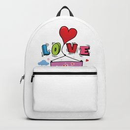 Love U Mom Balloons Art design Mothers Day Gift Backpack