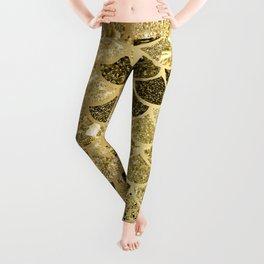 Glitter Gold Mermaid Scales Pattern Leggings