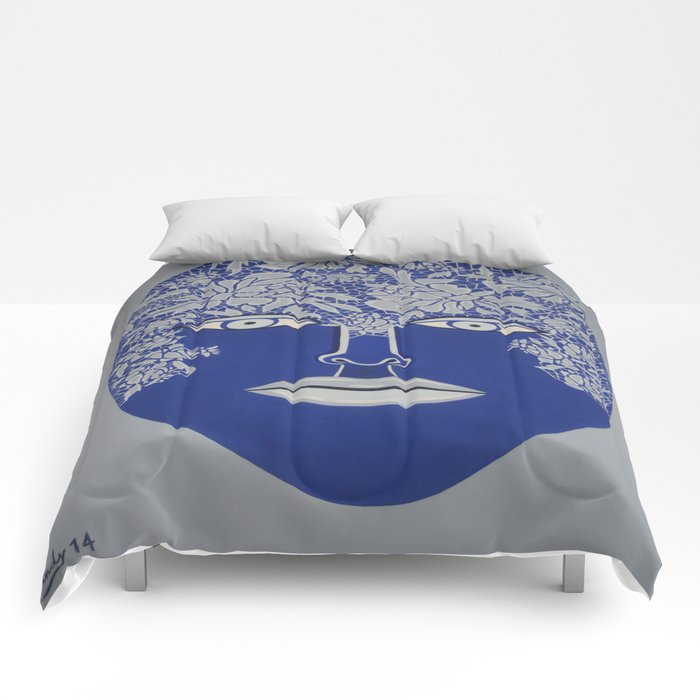 Woman's Visage blue face Comforters
