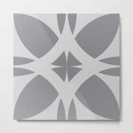Abstract Flower Diamond - Gray Metal Print