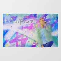 coldplay Area & Throw Rugs featuring Chris Martin-Coldplay-Digital Impressionism by Sophie Grace