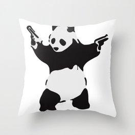 Banksy Pandamonium Armed Panda Artwork, Pandemonium Street Art, Design For Posters, Prints, Tshirts Throw Pillow